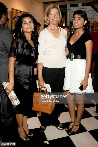 Tanuja Tharani Liz Peek and Sharika Tharani attend MICHAEL VOLLBRACHT Debuts Private Collection / Evening Preview at Wally Findlay Galleries on...