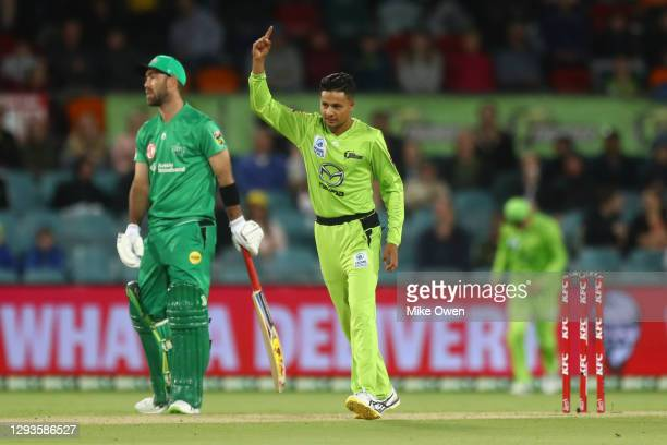 Tanveer Sangha of the Thunder celebrates after dismissing Hilton Cartwright of the Stars during the Big Bash League match between Sydney Thunder and...