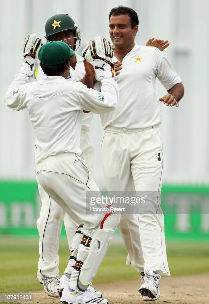 Tanvir Ahmed of Pakistan celebrates the wicket of Tim McIntosh of New Zealand during day one of the First Test match between New Zealand and Pakistan...