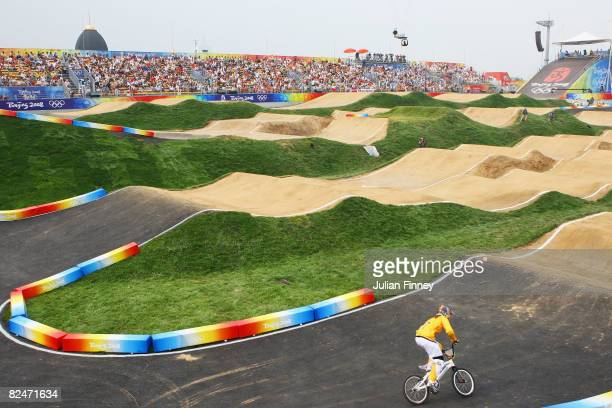 Tanya Bailey of Australia competes in the Women's BMX Seeding Phase at the Laoshan Bicycle Moto Cross Venue during Day 12 of the Beijing 2008 Olympic...