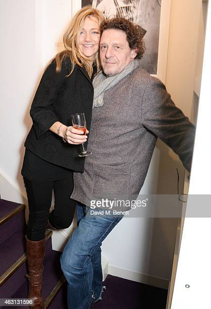 Tanya Brett and Marco Pierre White attend a private view of the 'Marco Pierre White by Bob Carlos Clarke' exhibition at The Little Black Gallery on...