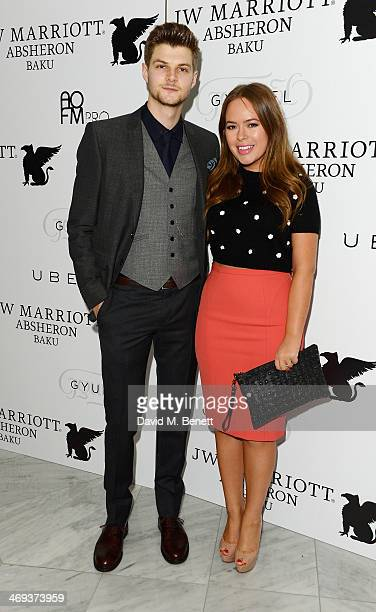 Tanya Burr and guest arrive at the Gyunel AW 14 LFW Show at ME Hotel on February 14 2014 in London England