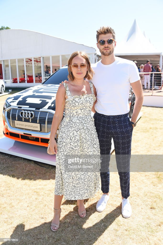 Tanya Burr (L) and Jim Chapman attend the Audi Polo Challenge at Coworth Park Polo Club on June 30, 2018 in Ascot, England.