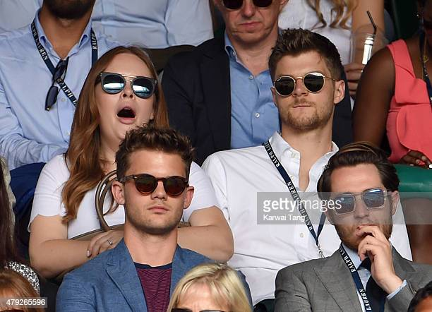 Tanya Burr and Jim Chapman attend the Sam Querry v Roger Federer match on day four of the Wimbledon Tennis Championships at Wimbledon on July 2 2015...