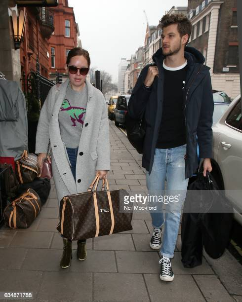 Tanya Burr and Jim Chapman seen arriving at Claridge's Hotel ahead of the BAFTA Awards on February 12 2017 in London England