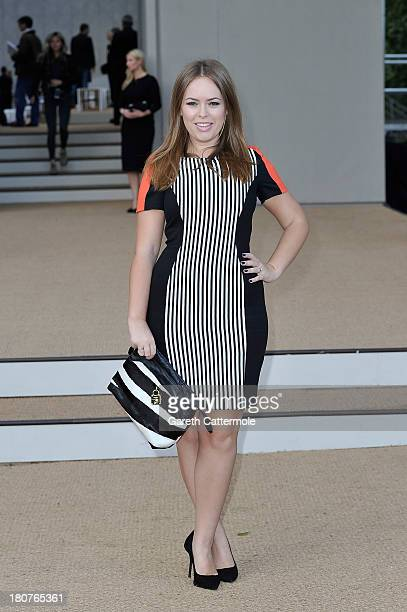 Tanya Burr arrives at Burberry Prorsum Womenswear Spring/Summer 2014 show during London Fashion Week at Kensington Gardens on September 16 2013 in...