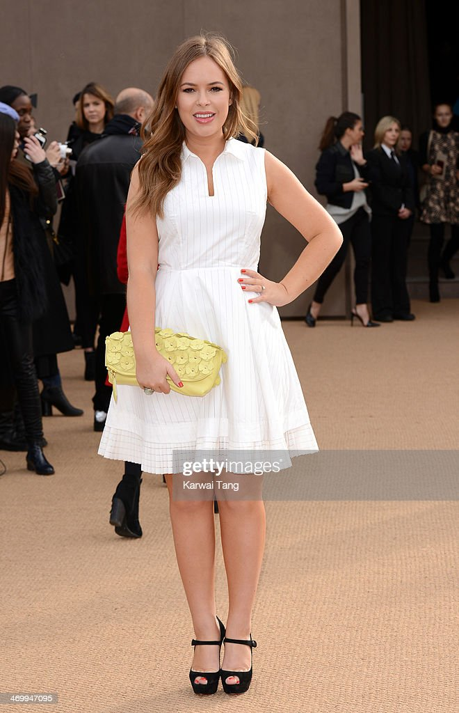 Tanya Burr attends the Burberry Prorsum show at London Fashion Week AW14 at Kensington Gardens on February 17, 2014 in London, England.