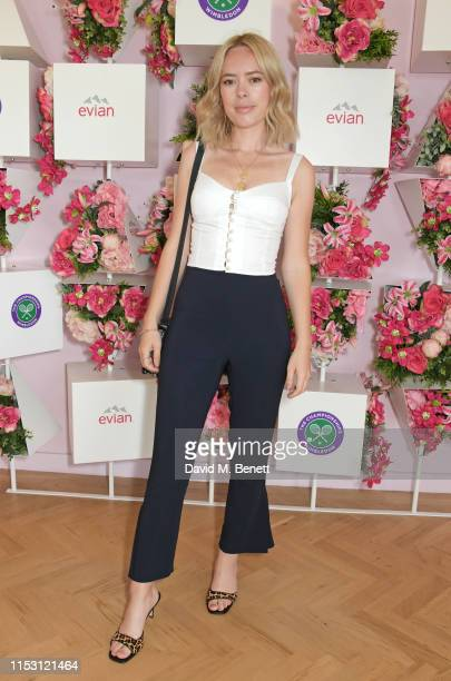 Tanya Burr attends the evian Live Young suite at The Championships Wimbledon 2019 on July 1 2019 in Wimbledon England