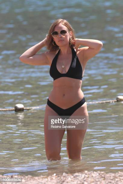 Tanya Burr is seen at Benirras Beach on July 23 2018 in Ibiza Spain