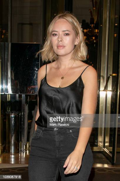 Tanya Burr is seen leaving the Prince de Galles hotel on September 23 2018 in Paris France