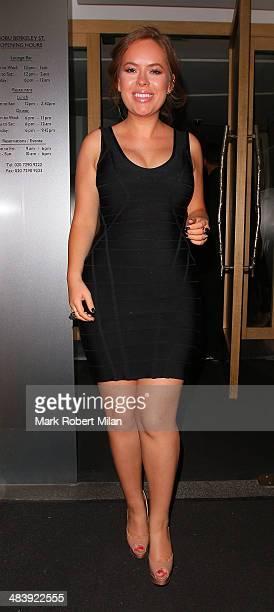 Tanya Burr leaving Nobu restaurant on April 10 2014 in London England