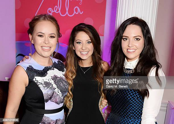 Tanya Burr Zoe Sugg and Gabriella Rose attend YouTube phenomenon Zoe Sugg's launch of her debut beauty collection at 41 Portland Place on September...