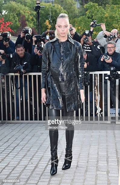 Tanya Dziahileva arrives at the Louis Vuitton Fashion Show during the Paris Fashion Week S/S 2016 Day Nine on October 7 2015 in Paris France