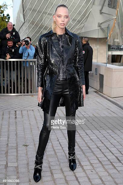 Tanya Dziahileva arrives at the Louis Vuitton show as part of the Paris Fashion Week Womenswear Spring/Summer 2016 on October 7 2015 in Paris France