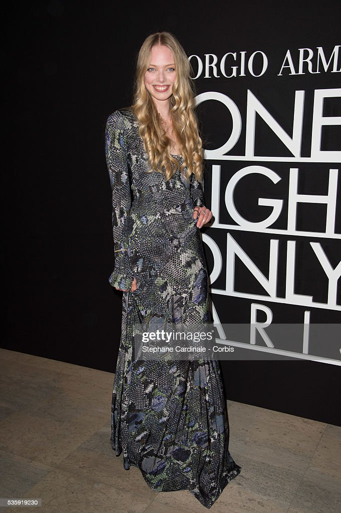 Tanya Dziahileva attends the Giorgio Armani Prive show as part of Paris Fashion Week Haute Couture Spring/Summer 2014, at Palais de tokyo in Paris.
