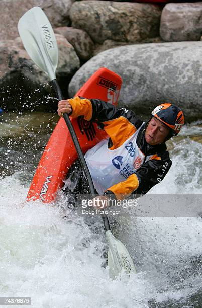 Tanya Faux of Walling Tennessee competes in the Women's Kayak Pro Freestyle Qualifier in Whitewater Park on Gore Creek during The Teva Mountain Games...