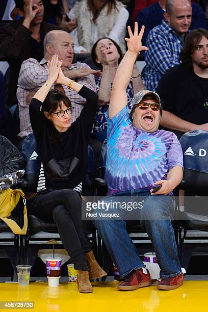 Tanya Haden and Jack Black attend a basketball game between the New Orleans Hornets and the Los Angeles Lakers at Staples Center on November 9, 2014...