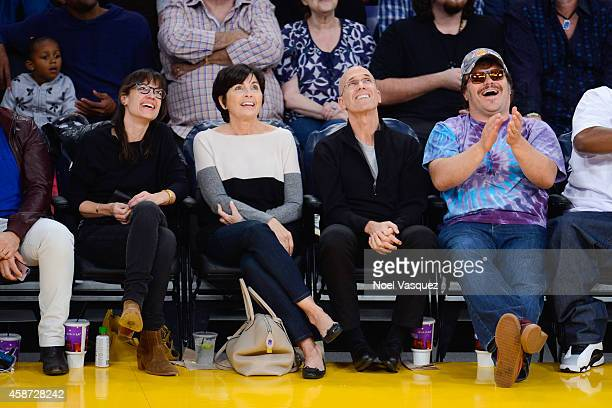 Tanya Haden, Marilyn Katzenberg, Jeffrey Katzenberg and Jack Black attend a basketball game between the New Orleans Hornets and the Los Angeles...