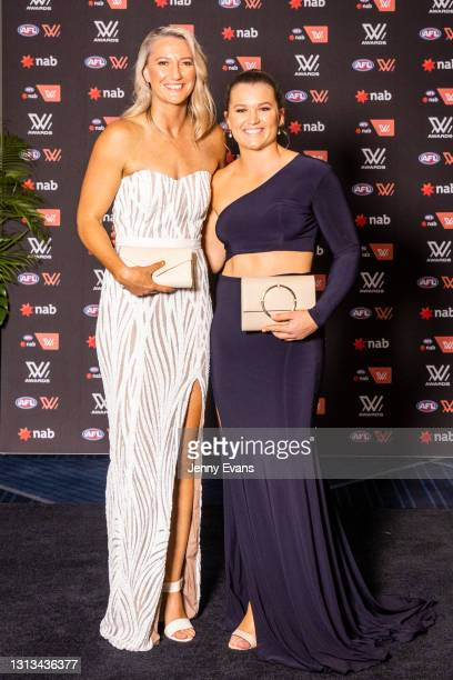 Tanya Hetherington and Alyce Parker of the GWS Giants arrive during the 2021 AFLW W Awards at Sydney Cricket Ground on April 20, 2021 in Sydney,...