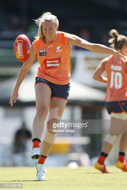 Tanya Hethrington of GWS kicks the ball in the warm up during the AFLW Rd 4 match between Collingwood and GWS at Morwekk Recreation Reserve on...