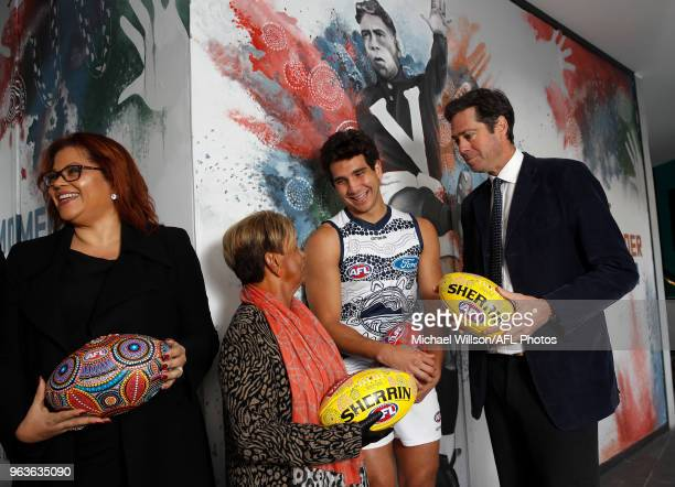 Tanya Hosch General Manager of Inclusion and Social Policy of the AFL Aunty Pam Pedersen Nakia Cockatoo of the Cats and Gillon McLachlan Chief...