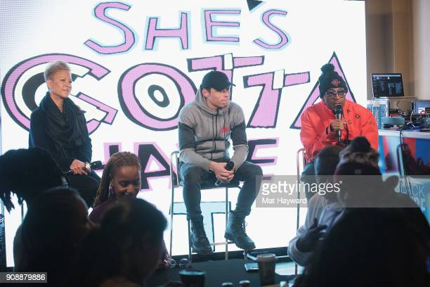 Tanya Lewis Lee Anthony Ramos and Spike Lee speak during the 'She's Gotta Have It' brunch sponsored by Netflix at Buona Vita on January 22 2018 in...