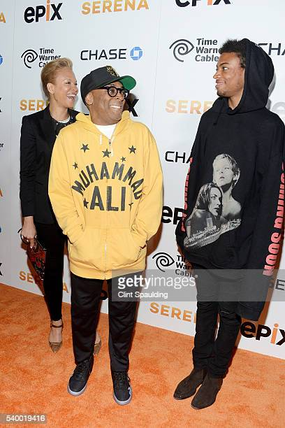 Tanya Lewis Spike Lee and Jackson Lee attend The Premiere of EPIX Original Documentary Serena at SVA Theatre on June 13 2016 in New York City