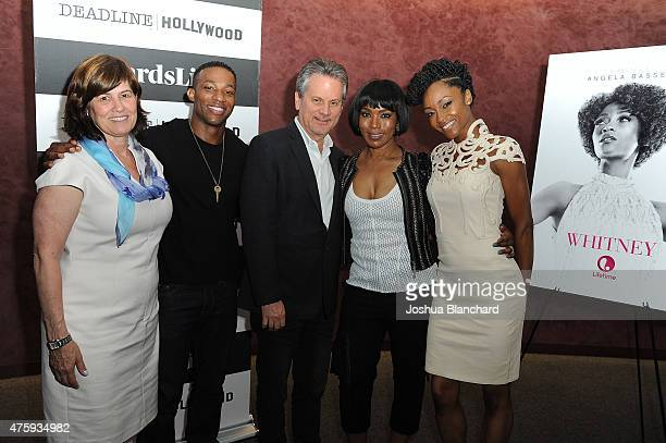 "Tanya Lopez, Arlen Escarpeta, Larry Sanitsky, Angela Bassett and Yaya DaCosta attend the Awardsline/Deadline Hollywood Screening Of ""Whitney"" at the..."