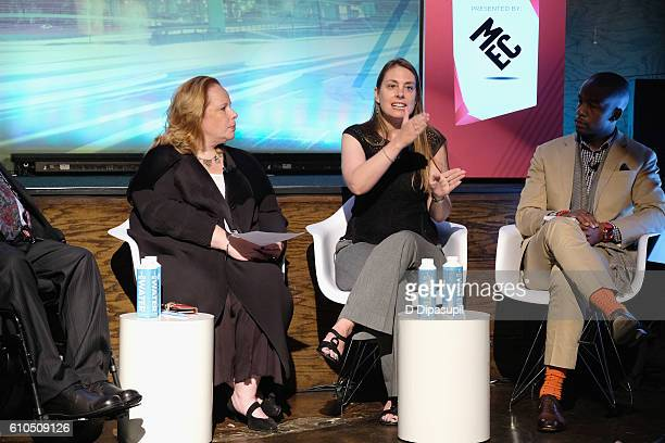 """Tanya M Odom Laura Mather and Wade Davis speak onstage during the Braving Your Bias We All Have """"Unconscious Biases"""" What Are Yours panel in Liberty..."""