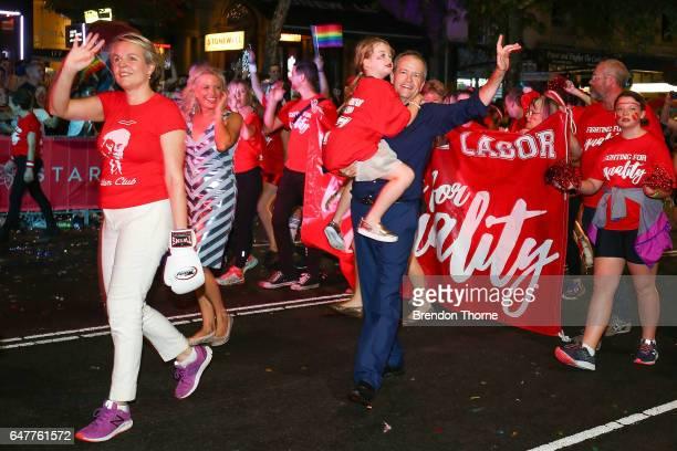 Tanya Plibersek Bill Shorten and Clementine Shorten march during the 2017 Sydney Gay Lesbian Mardi Gras Parade on March 4 2017 in Sydney Australia...