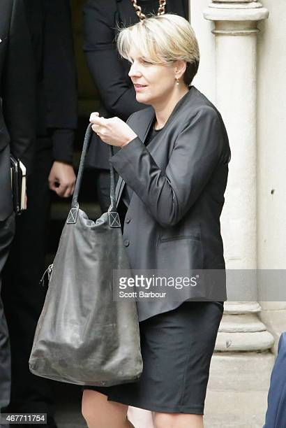 Tanya Plibersek deputy Opposition Leader leaves Scots Church after the State Funeral for the Right Honourable Malcolm Fraser on March 27 2015 in...