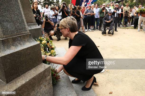 Tanya Plibersek lays a wreath at the Redfern Park World War Memorial during the Coloured Diggers March on April 25 2018 in Sydney Australia The...