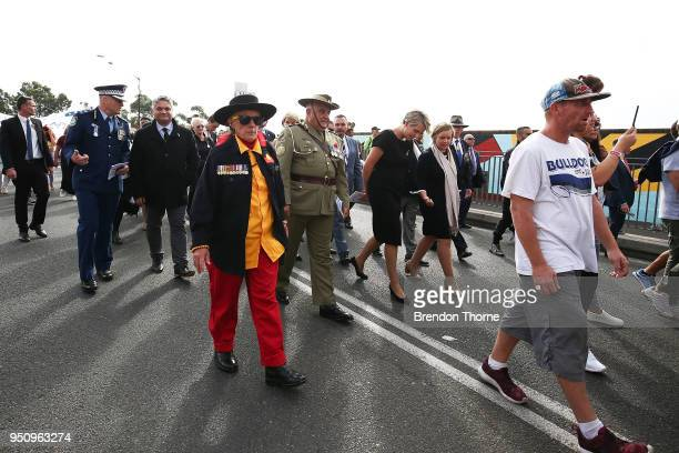 Tanya Plibersek marches during the Coloured Diggers March on April 25 2018 in Sydney Australia The annual Coloured Diggers March started 15 years ago...