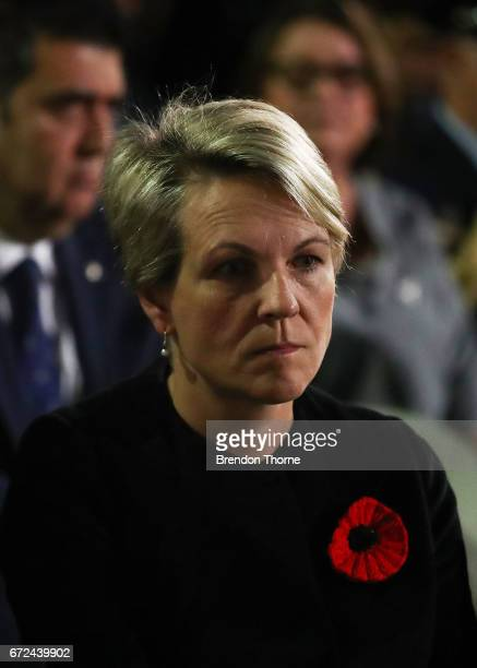 Tanya Plibersek stands in silence during the Sydney Dawn Service on April 25 2017 in Sydney Australia Australians commemorating 102 years since the...