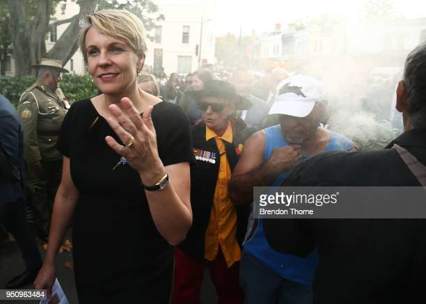 Tanya Plibersek takes part in a smoking ceremony during the Coloured Diggers March on April 25 2018 in Sydney Australia The annual Coloured Diggers...