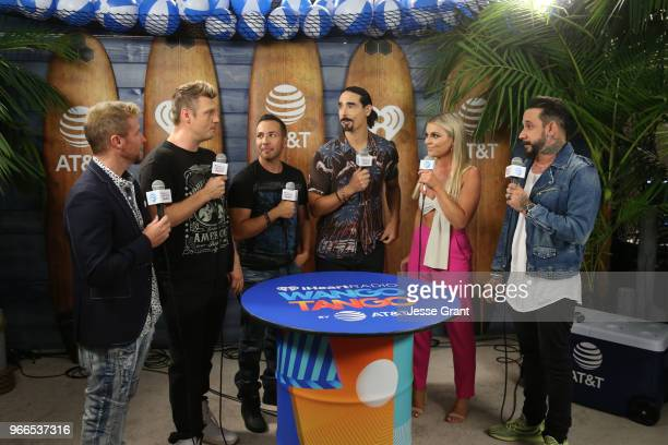 Tanya Rad and Brian Littrell Nick Carter Howie Dorough Kevin Richardson and AJ McLean of the Backstreet Boys backstage at the 2018 iHeartRadio Wango...