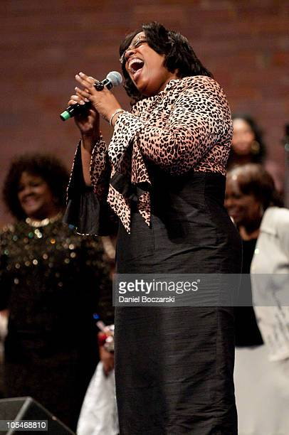 Tanya Ray performs during the memorial service for Albertina Walker at the Apostolic Church of God on October 14, 2010 in Chicago, Illinois.