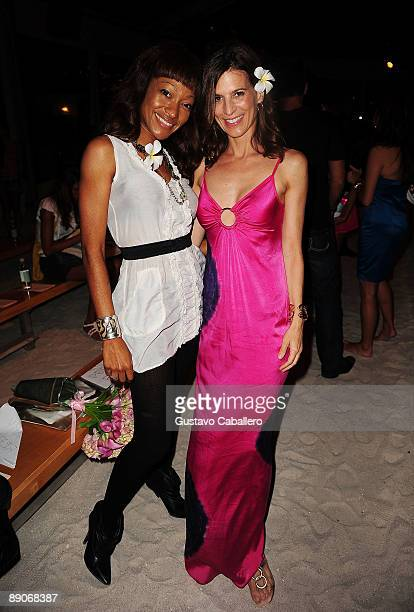 Tanya Sergei and actress Perry Reeves attend the Marysia Swim 2010 fashion show during MercedesBenz Fashion Week Swim at Oasis at The Raleigh on July...