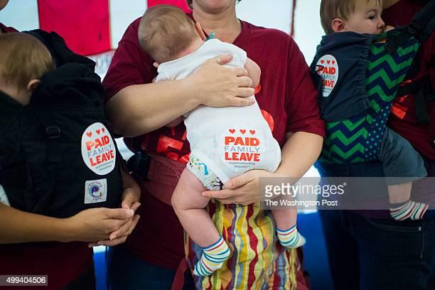 Tanya Snyder holding Milo EvansSnyder 5 months old left Jessica Champagne holding Benjamin RothChampagne 3 moths old center and Jamie Davis Smith...