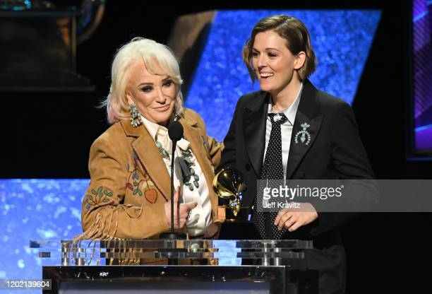 Tanya Tucker and Brandi Carlile accept Best Country Song for Bring My Flowers Now onstage during the 62nd Annual GRAMMY Awards Premiere Ceremony at...