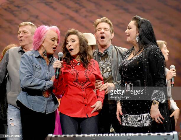 Tanya Tucker Loretta Lynn Dennis Quaid and Crystal Gayle perform onstage for Loretta Lynn An AllStar Birthday Celebration Concert at Bridgestone...