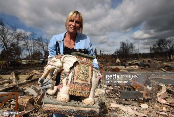Tanya Williams recovers an elephant statue that was gifted to her husband at her burned home in the Coffey Park area of Santa Rosa California on...