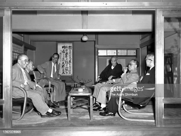 Tanzan Ishibashi, Ichiro Hatoyama, Nobusuke Kishi, Bukichi Miki, Mamoru Shigemitsu and Kenzo Matsumura are seen during their meeting on September 19,...