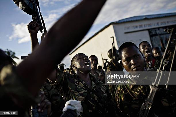 Tanzanian African Union troops celebrate after military training exercises in Fomboni the capital of Comoros island of Moheli on March 22 2008 More...