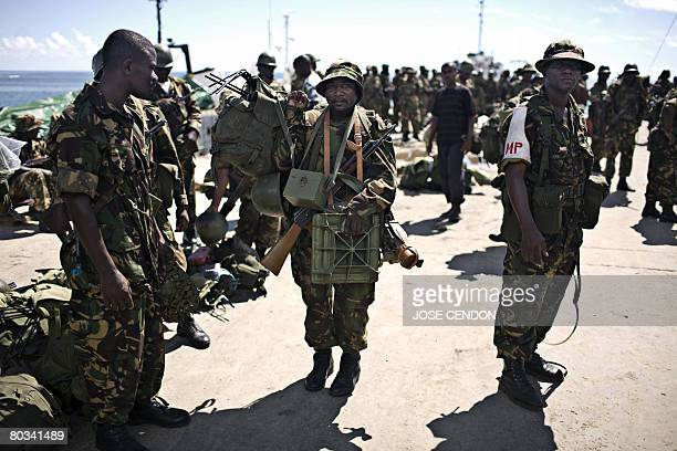 Tanzanian African Union troops disembark at the port of Fomboni the capital of Moheli on March 22 2008The Indian Ocean archipelago did not recognise...