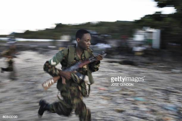 Tanzanian African Union troops undertake military training exercises in Fomboni the capital of Comoros island of Moheli on March 22 2008 More than...