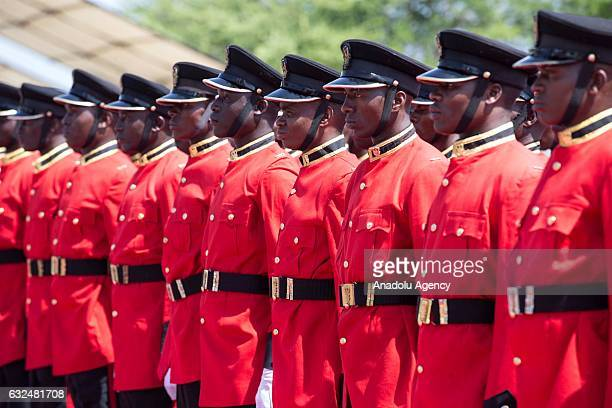 Tanzanian guards of honor make preparations before the welcome ceremony for Turkish President Recep Tayyip Erdogan ahead of a meeting with Tanzanian...