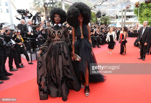 Tanzanian model Miriam Odemba and model Mariame Sakanoko arrive on May 18 2018 for the screening of the film The Wild Pear Tree at the 71st edition...