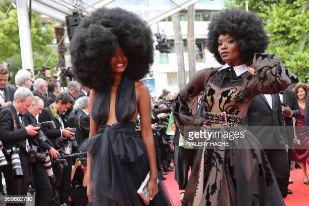 TOPSHOT Tanzanian model Miriam Odemba and model Mariame Sakanoko arrive on May 18 2018 for the screening of the film 'The Wild Pear Tree ' at the...