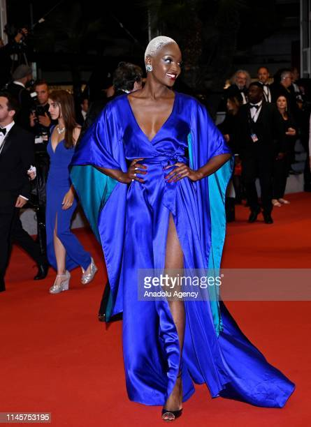 Tanzanian model Miriam Odemba arrives for the screening of the film 'Mektoub My Love Intermezzo' during the 72nd annual Cannes Film Festival in...